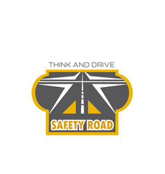 safety road isolated icon with highway crossroad vector image