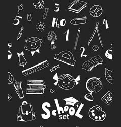 school items seamless pattern vector image