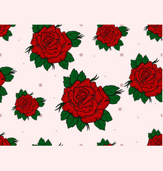 Seamless pattern with roses on white background vector