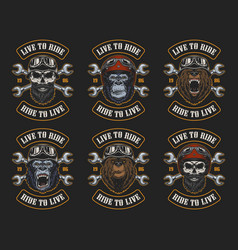 set of biker emblems vector image