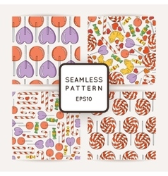 Set of Candy and Lollipop Seamless Patterns vector image