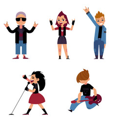 Set of characters of teenagers who play and sing vector