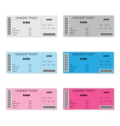 Set of Colorful Concert Tickets vector image