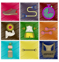Set of flat shading style icons fitness equipment vector
