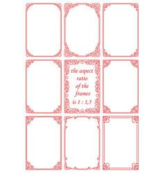 Set romantic rectangular frames with hearts vector