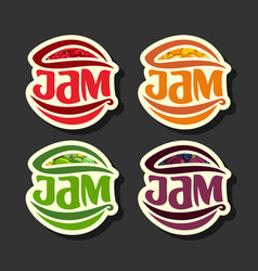 Set simple fruits jam labels vector