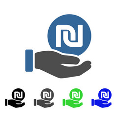 Shekel coin payment hand flat icon vector