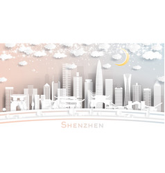 shenzhen china city skyline in paper cut style vector image
