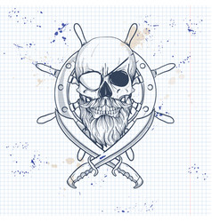 Sketch pirate skull with sword vector