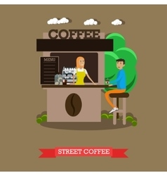 Street coffee shop concept banner Takeaway vector image