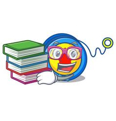 Student with book yoyo mascot cartoon style vector