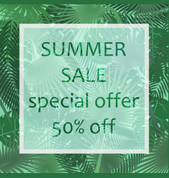 summer sale poster in a frame on the vector image