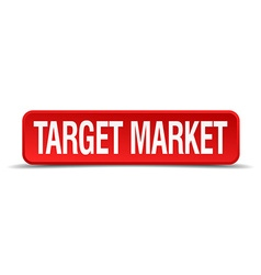 Target market red 3d square button isolated on vector image