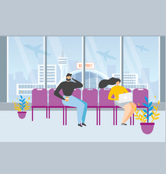 tourists waiting flight in airport concept vector image