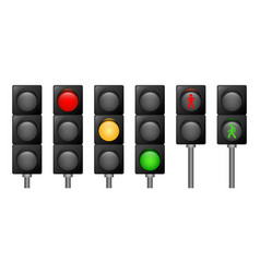 traffic lights icons set realistic style vector image