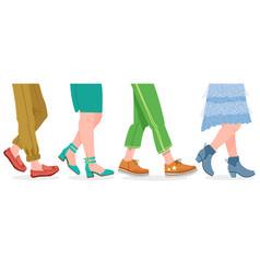 walking boots people walking in modern shoes man vector image