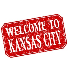 welcome to Kansas City red square grunge stamp vector image