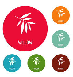 Willow leaf icons circle set vector
