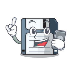 With phone cartoon shape in the floppy disk vector