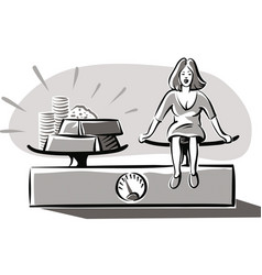 woman weighing on a balance vector image