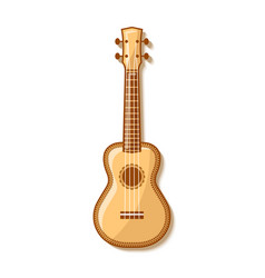 wooden ukulele with traditional ornaments vector image