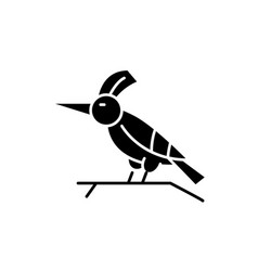 woodpecker black icon sign on isolated vector image