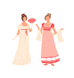 Young women wearing retro dresses in 19th century vector