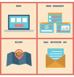 Flat process of e-shop Order and analytics vector image