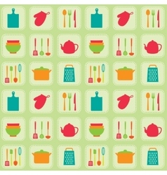 Kitchen tools seamless pattern vector image
