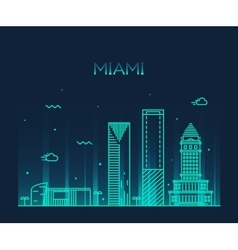 Miami skyline trendy linear vector image