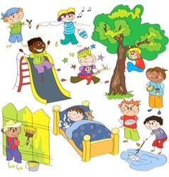 Sketches of boys vector image vector image