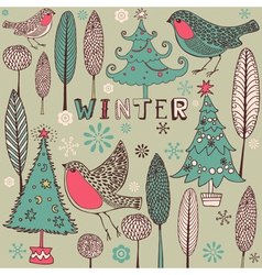 Vintage Winter Birds Pattern vector image vector image