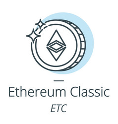ethereum classic cryptocurrency coin line icon of vector image