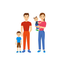 family of four father mother son baby daughter vector image