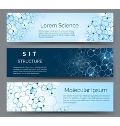 Molecular structure horizontal banners vector