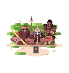 Aboriginal tribe and a smartphone vector image
