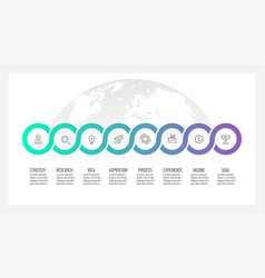 business process timeline infographics with 8 vector image vector image