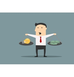 Businessman weighs the idea and money vector