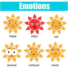cute kawaii sun character emoji emoticons vector image
