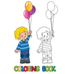 funny little boy with balloons coloring book vector image