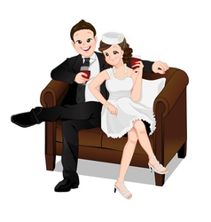 Romantic couple sitting on sofa and drinking vector image vector image