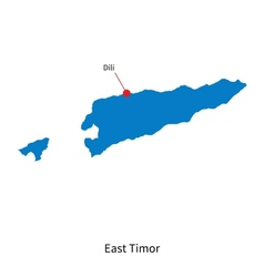 Detailed map of East Timor and capital city Dili vector image vector image