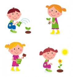 gardening children collection vector image