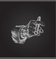 hand with cigar hand drawn vector image