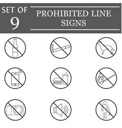 prohibited line icon set forbidden symbols vector image