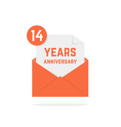 14 years anniversary icon in orange open letter vector image