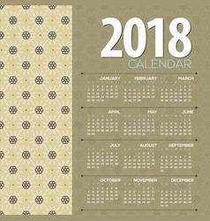 2018 vintage flowers pattern printable calendar vector image