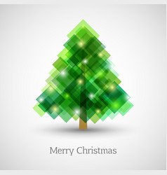 abstract christmas tree made green squares vector image