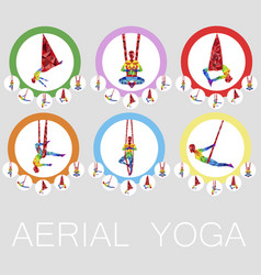 aerial yoga icons with woman silhouette vector image