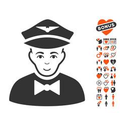 Airline steward icon with valentine bonus vector